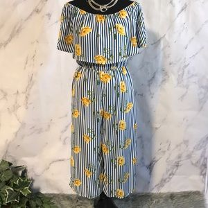 Pants - BLUE & WHITE STRIPED JUMPSUIT W/YELLOW FLOWERS